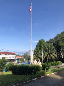 กปภ.สาขาคลองใหญ่ ร่วมจัดกิจกรรมเคารพธงชาติไทยและร้องเพลงชาติไทย เนื่องในวันพระราชทานธงชาติไทย ในวันที่ 28 ก.ย.25